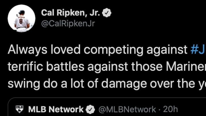 Cal Ripken Jr. praised Ken Griffey Jr.'s swing in a tweet on Monday.