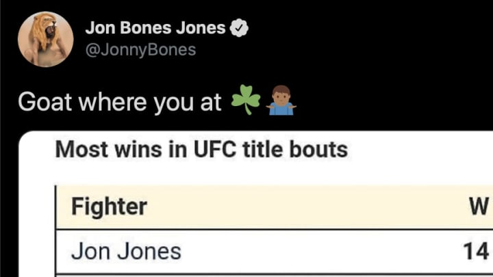 UFC light heavyweight champion Jon Jones responds to Conor McGregor on Twitter in the MMA GOAT debate