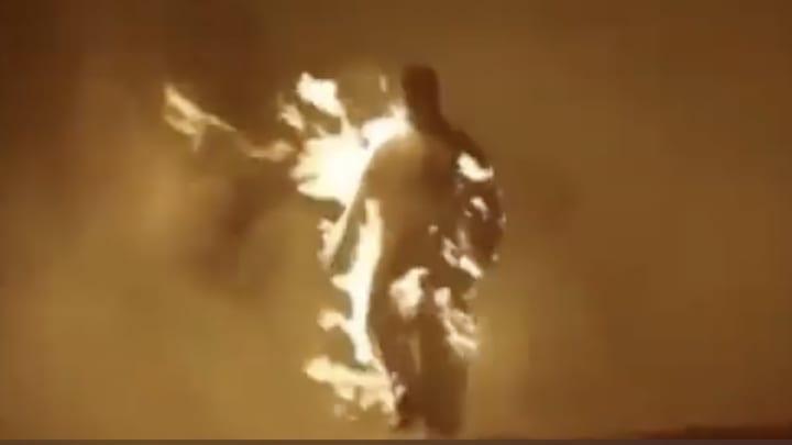 Kanye West on fire.