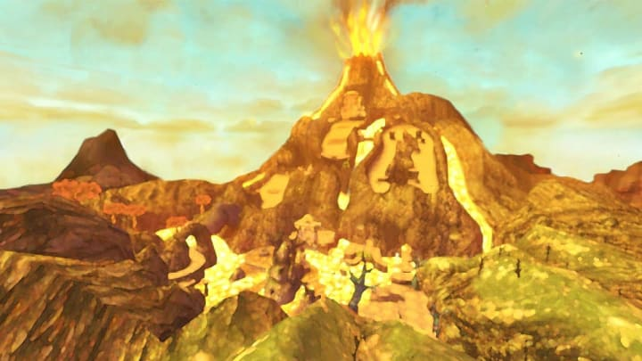 Eldin Volcano from a far, home of the Earth Temple and Five Key Pieces needed for entry