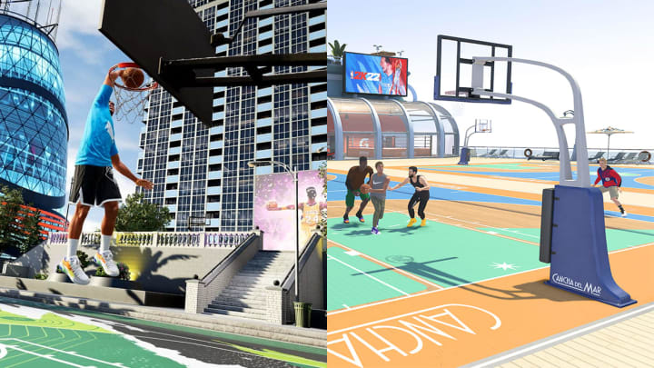 Here's a comparison of the next-gen City and current-gen Neighborhood in NBA 2K22.