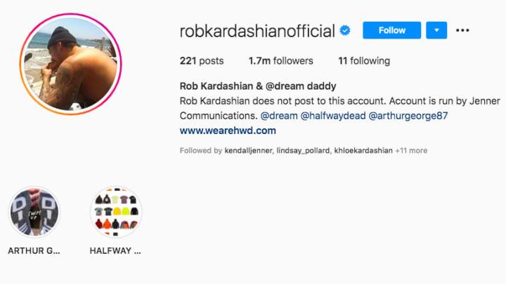 Rob Kardashian sets shirtless photo as his Instagram profile pic
