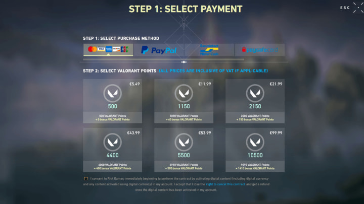 Valorant Points, the in-game currency can be purchased with an option for six different tier levels.
