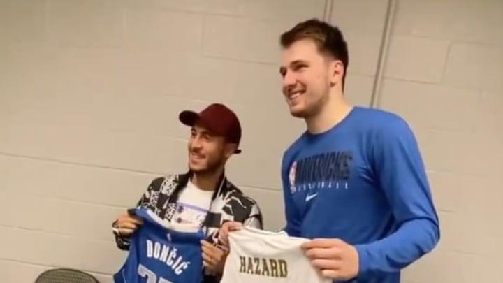 VIDEO: Luka Doncic and Eden Hazard Swap Jerseys After Mavs O
