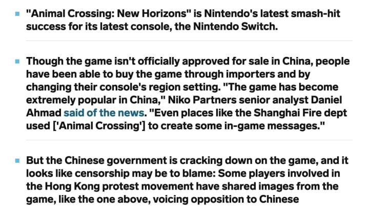 Chinese individuals have been circumventing restrictions to purchase Animal Crossing - and use it as a platform for protest against the Chinese govt.