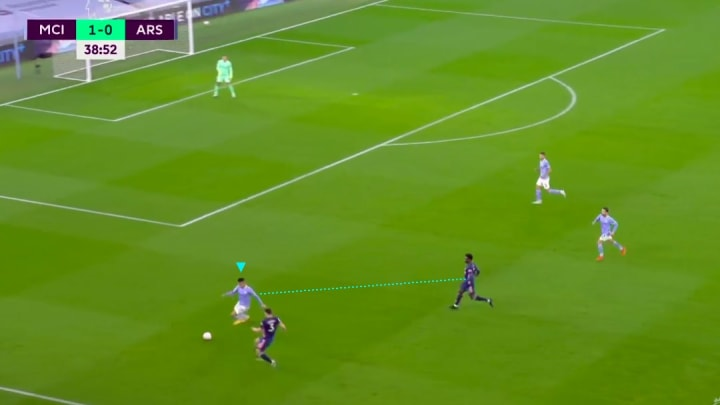 João Cancelo trying to clear the ball vs Arsenal
