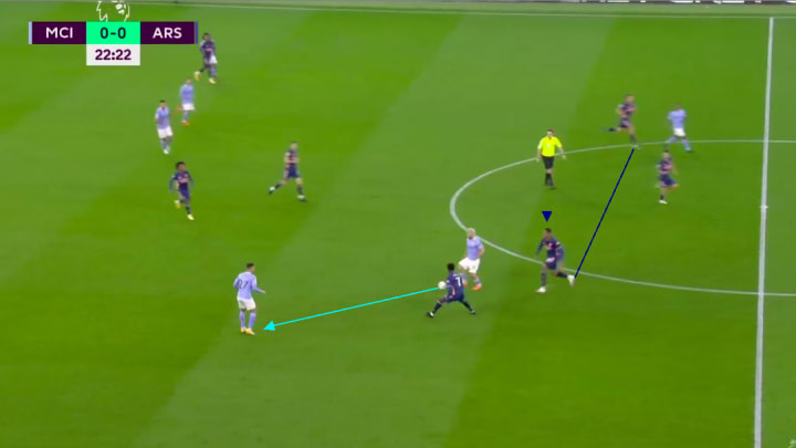 Gabriel pushing up vs Manchester City
