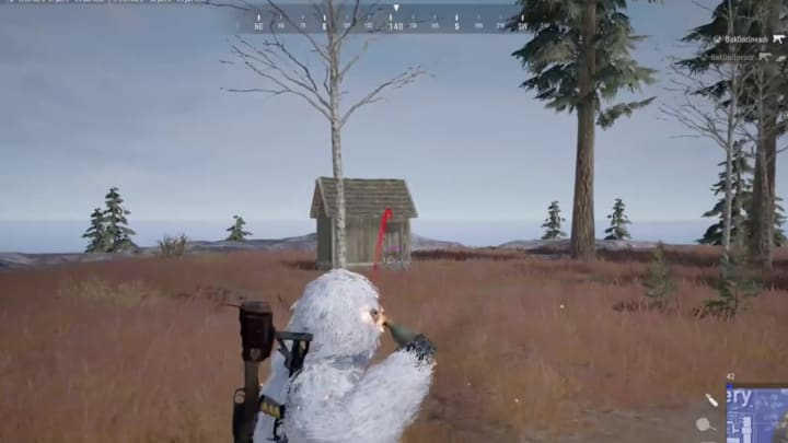A PUBG player took an opportunity to take out three enemy players all camping in one small shack.