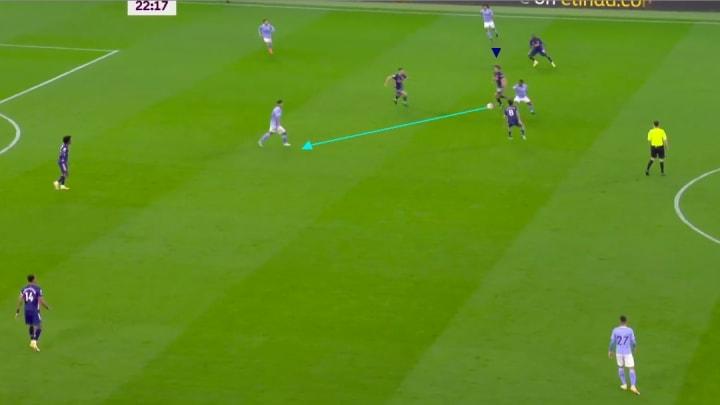 David Luiz pushing up vs Manchester City