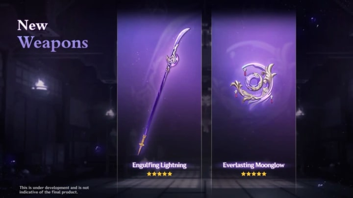 Along with the Everlasting Moonglow, Engulfing Lightning is one of two new 5-Star weapons coming to Genshin Impact in the Version 2.1 update.