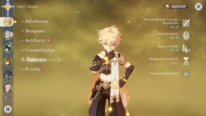 Genshin Impact Traveler, Aether, talents