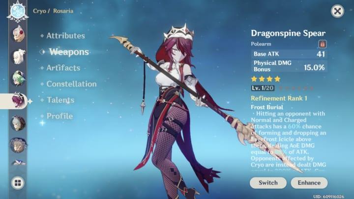 Genshin Impact Rosaria, Dragonspine spear