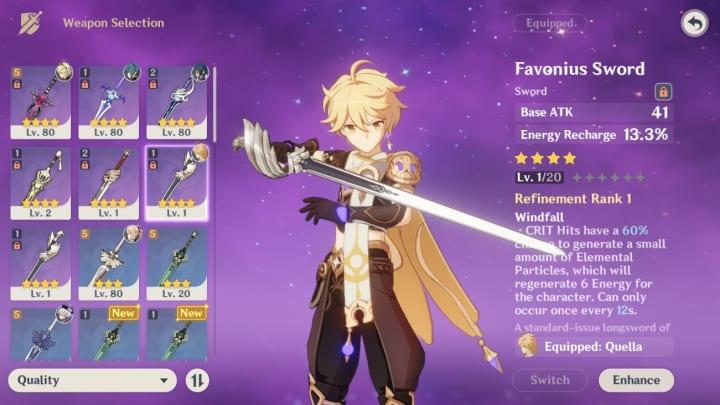 Genshin Impact Traveler, Aether, Favonius Sword