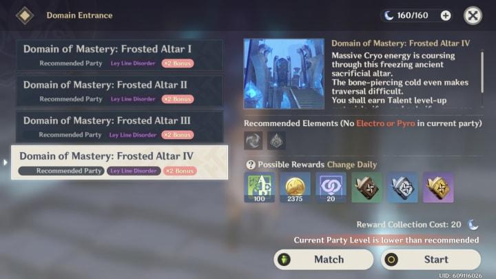 Genshin Impact Domain of Mastery Forsaken Rift Frosted Altar