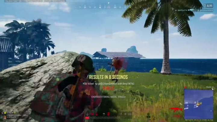 PLAYERUNKNOWN'S BATTLEGROUNDS clutch player lands their last and only bullet to one-shot the final player and win the tightly contested duos match.