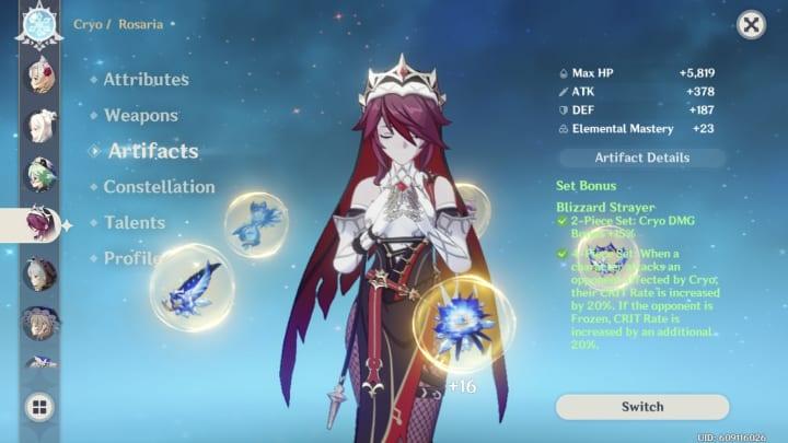 Genshin Impact Rosaria, Blizzard Strayer set