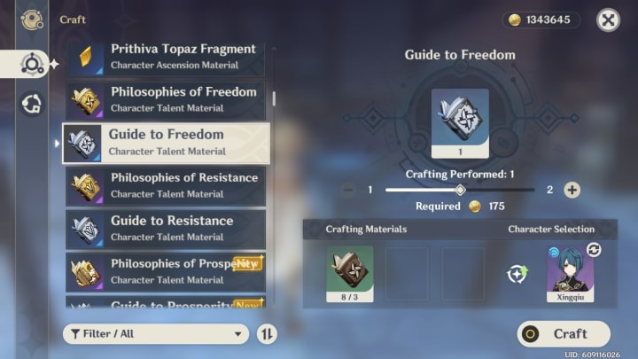 Genshin Impact alchemy crafting guide to freedom