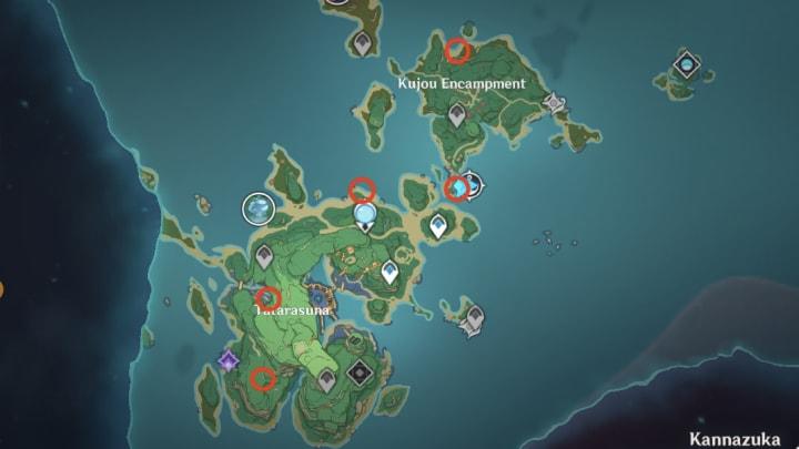 Genshin Impact Inazuma map, thunder sakura locations