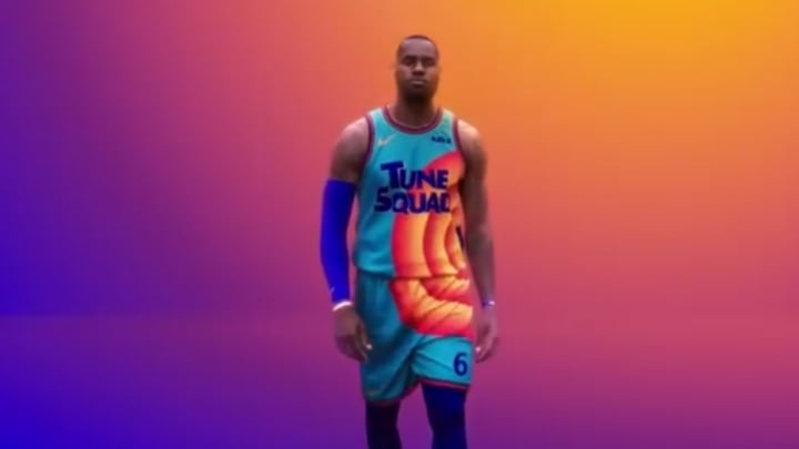 LeBron James in the new Tune Squad jersey.