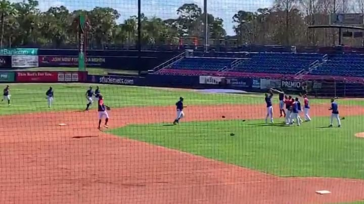 The New York Mets celebrating winning the World Series in Spring Training.