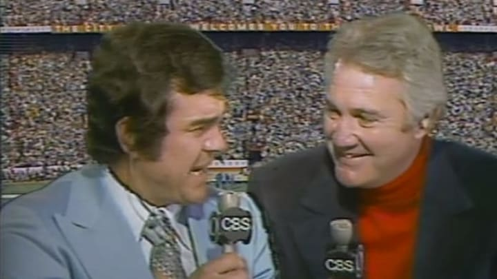 Tom Brookshier and Pat Summerall on the call for Super Bowl X.