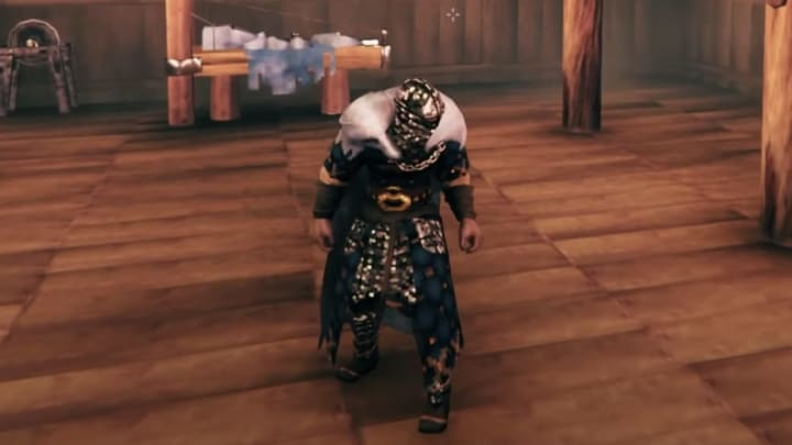 A glimpse at the completed set of padded armor in Valheim