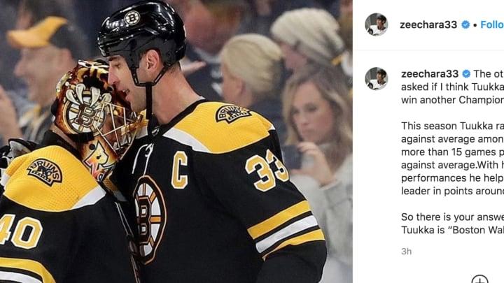 Bruins defenseman Zdeno Chara drops the mic against haters of goalie Tuukka Rask.
