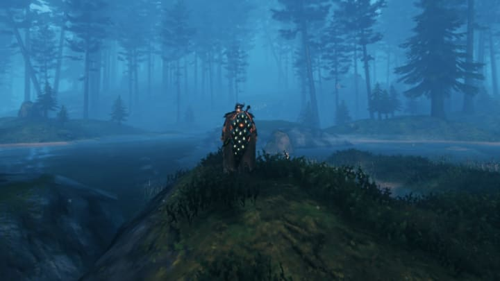A view of the world of Valheim at night.