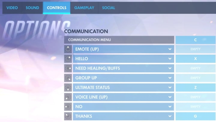 The new Overwatch Communication Wheel options in the Controls tab.