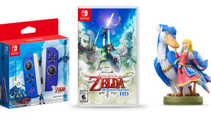 The Legend of Zelda: Skyward Sword HD Edition Joy-Con (L)/(R), The Legend of Zelda: Skyward Sword HD Physical edition and the Zelda & Loftwing amiibo.