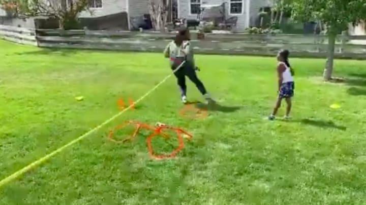 Denver Broncos LB Alexander Johnson trained with a young neighbor.