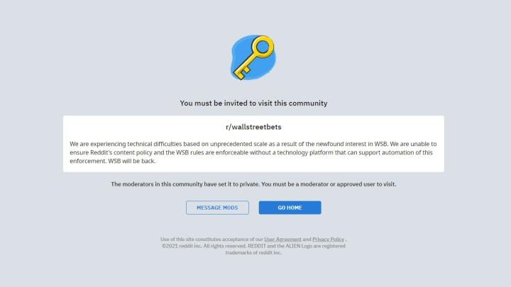 Reddit takes down r/WallStreetBets