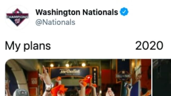The Nationals viciously trolled the Astros with a 'my plans-2020' meme.