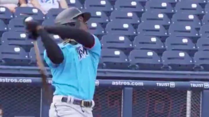 Miami Marlins infielder Jazz Chisholm hit the first home run of spring training on Sunday against the Houston Astros.