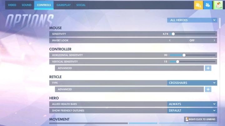 The top of the Controls tab of Overwatch settings.