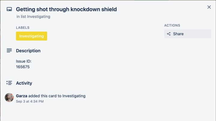 """The Knockdown Shield bug was tagged as """"investigating"""" by Respawn Entertainment on their Trello board Thursday."""