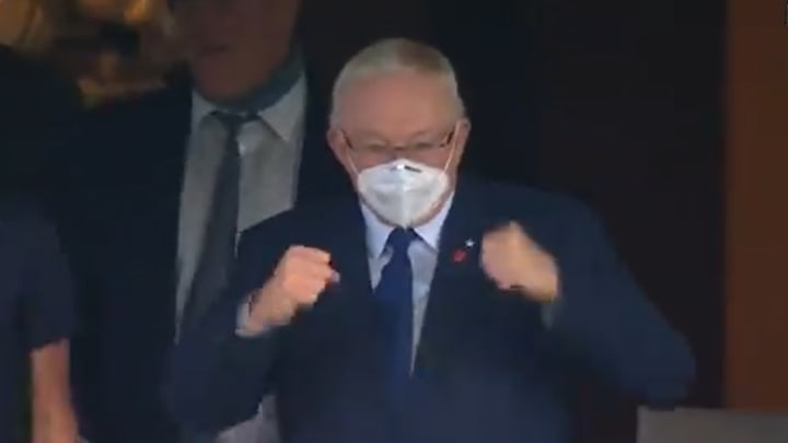 Jerry Jones was fired up after the Cowboys recovered an onside kick against the Falcons