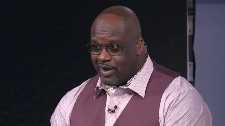 Shaquille O'Neal showing off his hairline on TNT