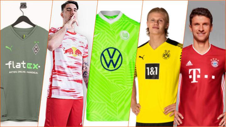 Alle veröffentlichten Trikots der 18 Bundesliga-Teams 2021/22 im Überblick