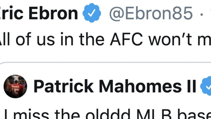 Eric Ebron wants Patrick Mahomes to pursue a baseball career so he doesn't have to play against him in the NFL.