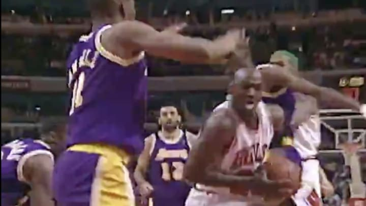 Michael Jordan drives in the paint for the Chicago Bulls