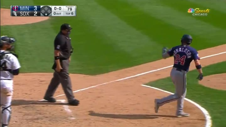 Josh Donaldson ejected by Dan Bellino after hitting a home run.