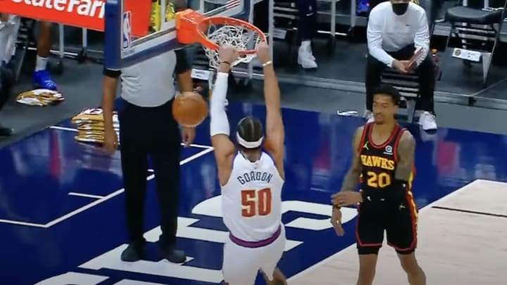 Aaron Gordon's first dunk as a Denver Nugget.