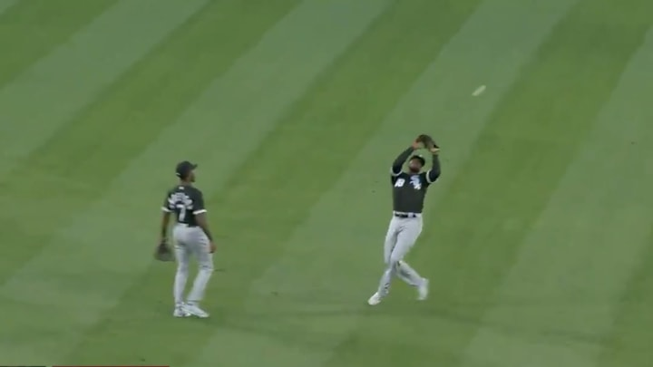 Tim Anderson watches the ball bounce off Luis Robert's head.