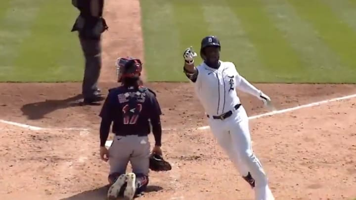 Akil Baddoo's first career home run came on the first pitch he ever saw.