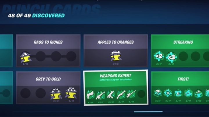 What Skill Too Get Onn Fortnite Too Evalute Your Weapon Weapons Expert Punch Card Fortnite How To Complete