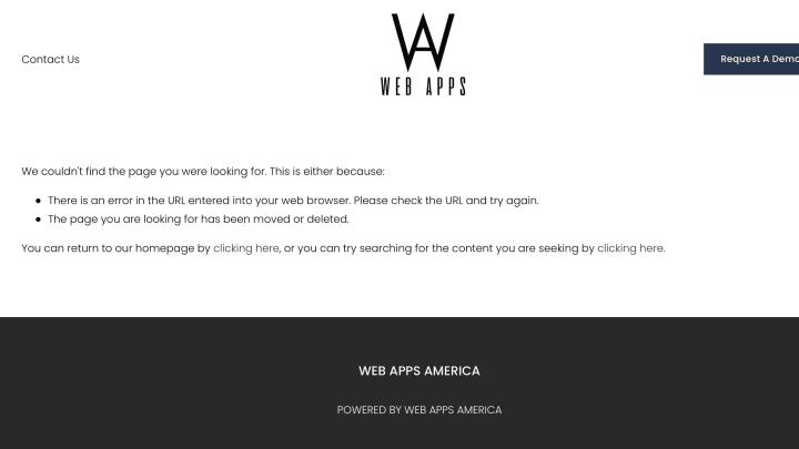 A broken link on the Web Apps America website.