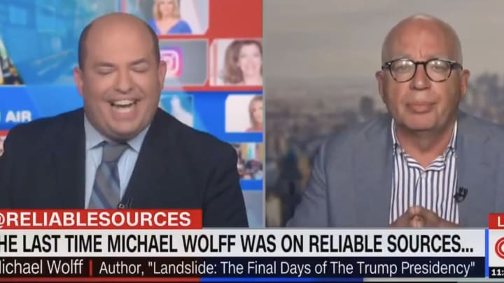 Brian Stelter can't control his laughter