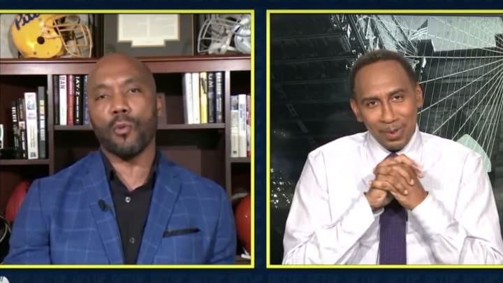 Stephen A. Smith looking diabolical with Louis Riddick