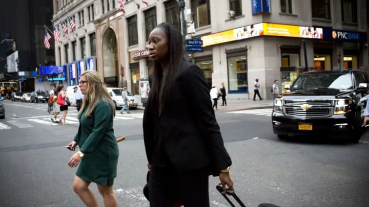 Tina Charles walks to Madison Square Garden for Game 3 of the Eastern Conference Finals.